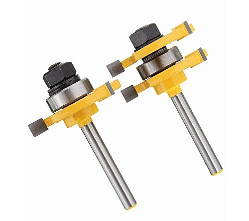 Jack-Store 2Pcs Tongue & Groove Router Bit Set 3/4'' Stock 1/4'' Shank For Woodworking Tool
