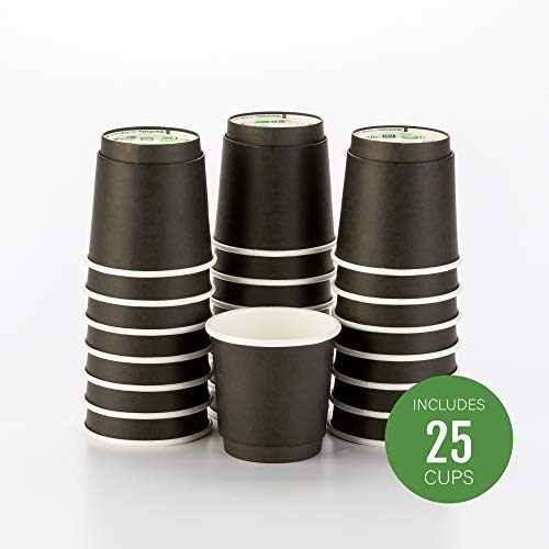25-CT Disposable Black 4-OZ Hot Beverage Cups with Double Wall Design: No Need for Sleeves - Perfect for Cafes or Home Use - Eco-Friendly Recyclable Paper - Insulated - Wholesale Takeout Coffee Cup