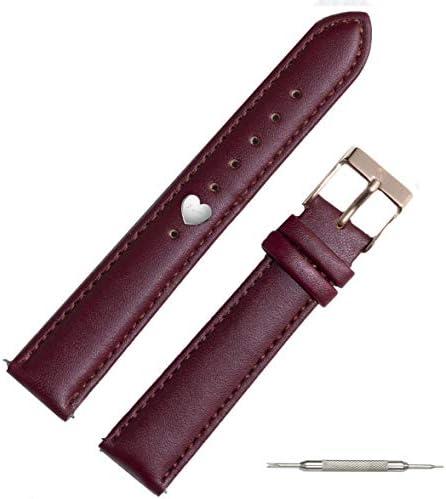 【選べるカラー チャーム付き】ダニエルウェリントン 互換 替えベルト 本革 革ベルト チャーム セット ハート型チャーム 腕時計 ベルト アクセサリー レディース 18mm (シルバー, ブルーGD)