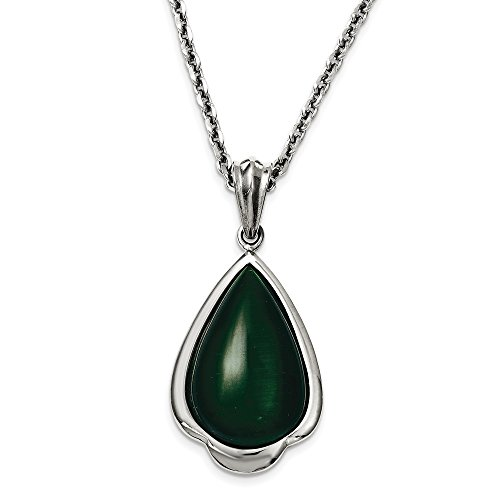 Chisel Stainless Steel Synthetic Green Cats Eye Teardrop 20in Necklace One Size