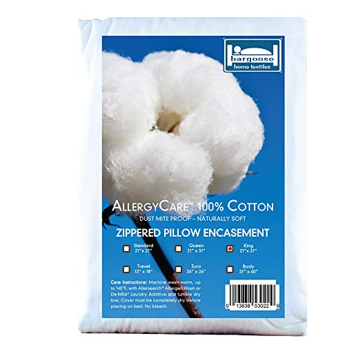 BARGOOSE HOME TEXTILES King, AllergyCare 100% Cotton, Dust Mite Allergen Proof, Zippered Pillow Cover/Protector