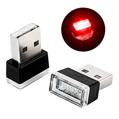 Price comparison product image Rumfo 2Pcs Car Mini USB LED Car Interior Ambient Lighting Decoration Night Light Automotive Decorative Led Lamp with USB Charging for All Cars Vehicle SUV Truck (Red)