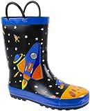 Rainbow Daze Kids Rain Boots Spaceship,Astronaut Galaxy Print,Waterproof 100% Rubber,Big Kid Size 2/3, Black Blue