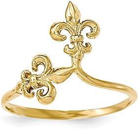 14k Polished Fleur De Lis Ring