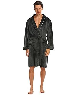 Ekouaer Mens Fleece Robe Plush Soft Bathrobe Warm Nightgown with Collar Spa Kimono S-XXXL