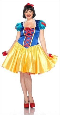 Leg Avenue DP85126X 2 Piece Plus Size Classic Snow White Costume Set44; Size 1X-2X Blue With Yellow & White (Classic Snow White Plus Size Costumes)