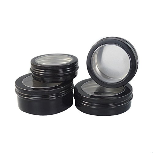 (6PCS 60ml/80ml/100ml/150ml Round Clear Window Tin Cans Lid Black Aluminium Containers Nail Art Lip Balm Makeup Jar Bottle DIY Cream Cosmetic Container Pot Tin Beauty Products Case (60ml/2oz))