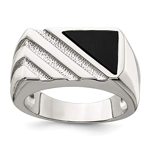 - 925 Sterling Silver Mens Black Onyx Band Ring Size 10.00 Man Fine Jewelry Gift For Dad Mens For Him