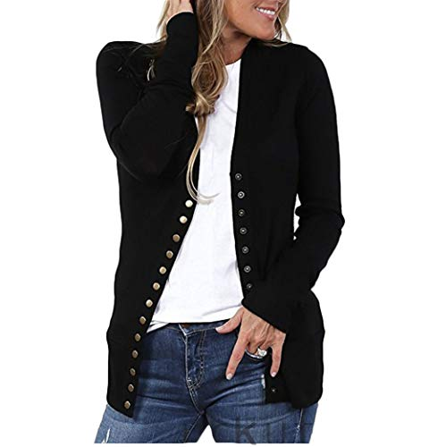 RUEWEY Women Cotton Knitted Long Sleeve Open Front Cardigan Sweater Button Down Outwear Coat (S, Black)