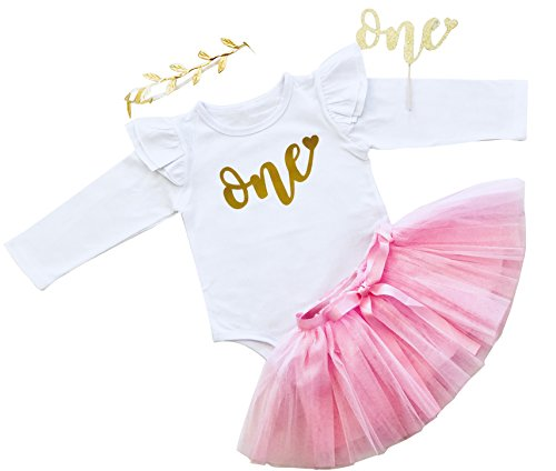 Price comparison product image Baby First Birthday Outfit - Bodysuit, Skirt, Gold Leaf Headband, Gold Glitter Cake Topper