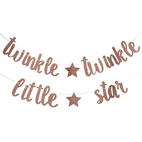 Glittery Twinkle Twinkle Little Star Banner- Birthday Party Baby Shower Party Decorations (Rose Gold)