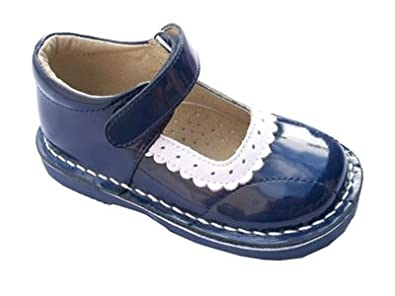 0ebe8118e6e Coco Jumbo Girls Genuine Leather Mary Janes Patent Navy   White Scalloped  Edge ...