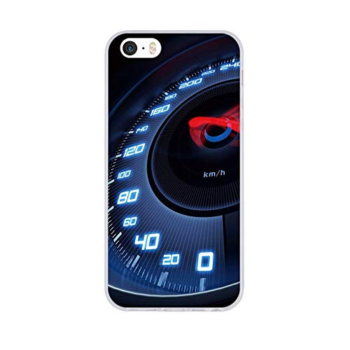 (Black Red Racing Themed iPhone 8 Case Blue Car 7 Cover Race Driving Drive Driving Automobile Speedometer Gauge Speed Vehicle Motor Indicator Velocity Dashboard Soft, Silicone)