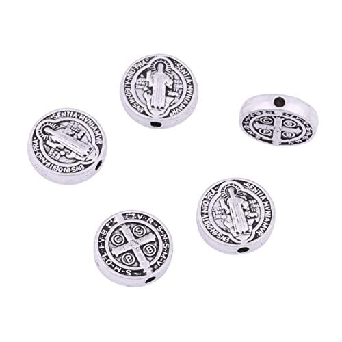 - 80 Antique Silver Religious Wear Saint Benedict Medallion Round Loose Spacer Beads Jewelry Making Charms for DIY Necklace Bracelet Jewelry
