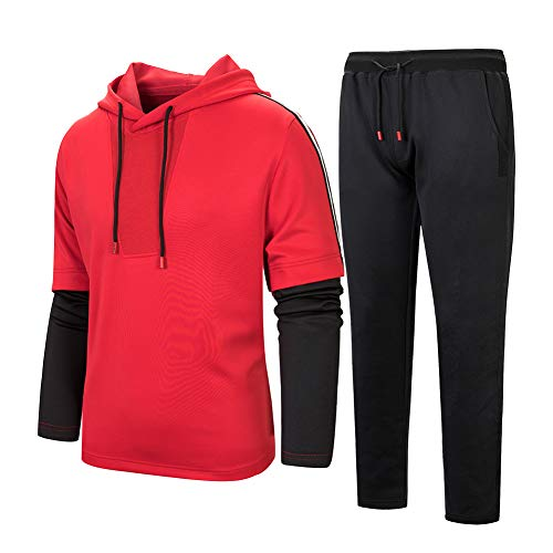 Men's Hooded Tracksuit Pullover Casual Jogging Gym Sweat Suits Red-XL