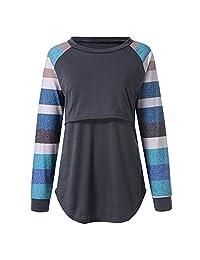 Women's Long Sleeve Nursing Tops Shirts Maternity T-Shirt Stripe Round Neck Breastfeeding Blouse Clothes S-2XL