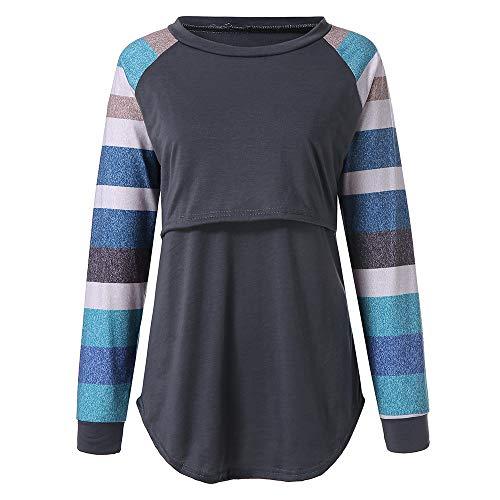 Stillshirt Schwanger T-Shirt Damen Umstandsmode Top Umstandsshirt Umstandstop Lagendesign Wickeln-Schicht Rundhalsausschnitt Einfarbig