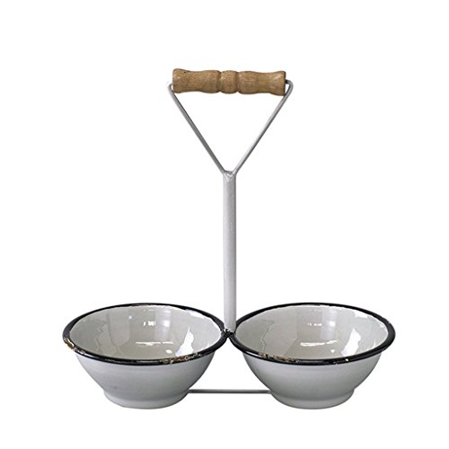 (Time Concept Provence Double Bowl with Wood Handle - White/Small - Indoor Metal Planter, Home Garden Decor)