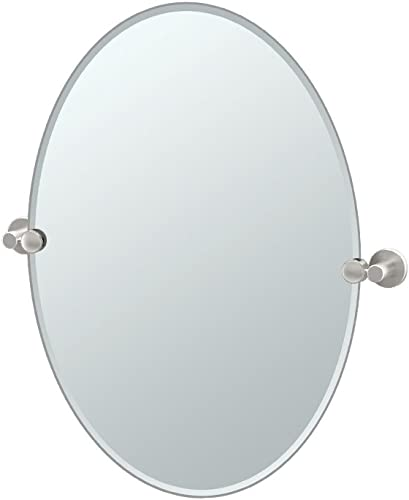 Gatco 4699 Channel Oval Mirror Satin Nickel, 26.5 H x 24 W