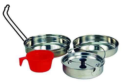 Texsport 5 pc Stainless Steel Camping Cookware Outdoor Mess Kit Outfitter Stainless Steel Cookware