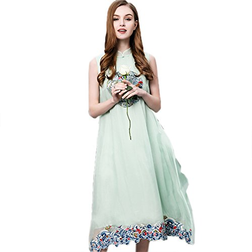 Silk Green Maxi Loose A Neck line Fit cotyledon Dresses Sleeveless Women`s Dress Scoop fTq5OT