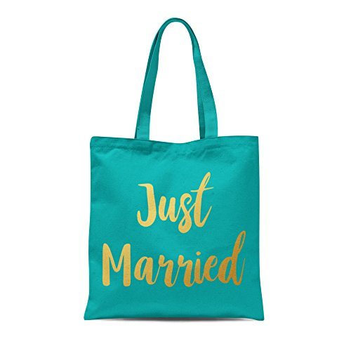 Just Married Printed Tote Shopping Bag Wedding Bride Groom Honeymoon Party Gift Emerald With Gold Print