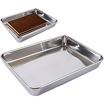 Baking Cookie Sheets Pan,Jelly-Roll Pans Roasting Pan,Stainless Steel Baking Pans Tray Cookie Sheet,Nonstick Toaster Oven Baking Sheet Pans, Easy Clean & Dishwasher Safe (14.2'' x 11'')