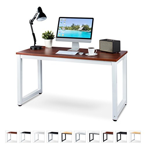 "Luxxetta Office Computer Desk – 55"" x 23"" Teak Laminated Wooden Particleboard Table and White Powder Coated Steel Frame - Work or Home – Easy Assembly - Tools and Instructions Included - Teak Console Wood Table"