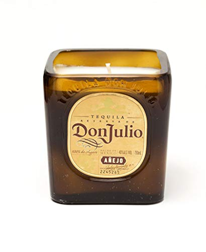(DON JULIO Tequila Soy Candle- Cut Bottle Re-purposed Recycled Liquor)