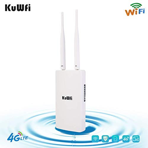 KuWFi Waterproof Outdoor 4G LTE CPE SIM Card WiFi Router 150Mbps CAT4 SIM LTE Routers Work with IP Camera or Outside WiFi Coverage with 2pcs Antenna Only Work with SIM Card Mode