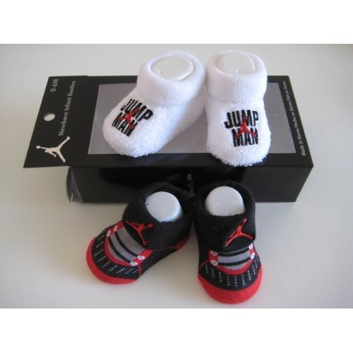 Nike Jordan Booties Infant New Born Baby Girl Boy 0-6 Months Black/red and White with