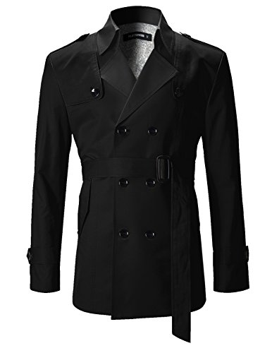 FLATSEVEN Mens Slim Fit Designer Casual Trench Coat Black, (Designer Trench Coat)