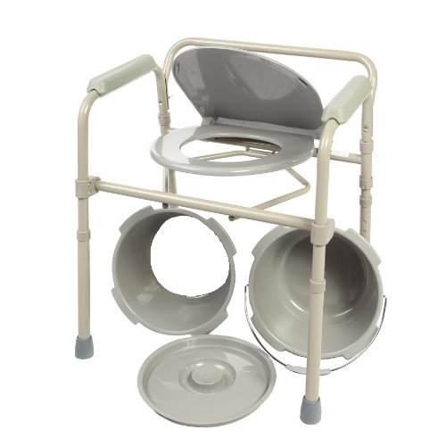 Rail Guard Lock (HEALTHLINE Commode Chair, Folding Bedside Commode Chair, Deluxe Bedside and Bathroom Steel Medical 3 in 1 Commode Over Toilet Seat with Commode Bucket, Splash Guard and Arms, Gray)