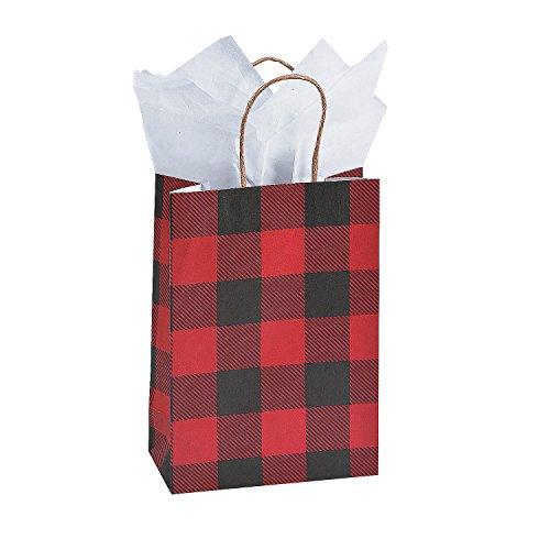 Fun Express 12 Pack- Buffalo Plaid Kraft Woodland Gift Bags - Medium 9 -