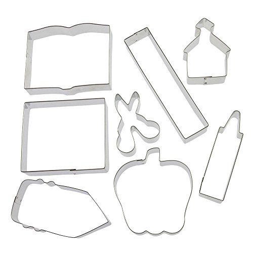 Apple Schoolhouse - Back To School Teacher Appreciation 8 Pc Cookie Cutter Set HS0426-4.25 in Text Book, 6 in Ruler, 4.25 in Crayon, 4 in Note Pad, 3 in Scissors, 3.25 in Schoolhouse, 4 in Apple, 4.5 in Pencil. - Foose