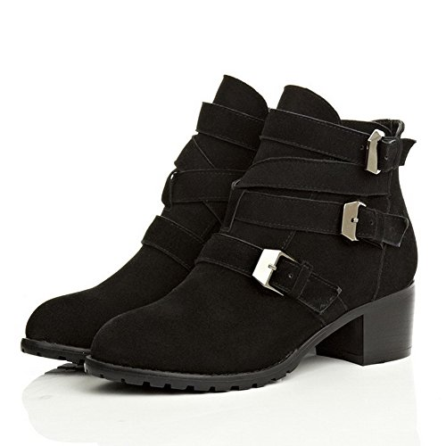 Kitten Toe and Zippers Women's Heels Heels Boots Round AmoonyFashion Rough with Black Closed Toe SXqE41