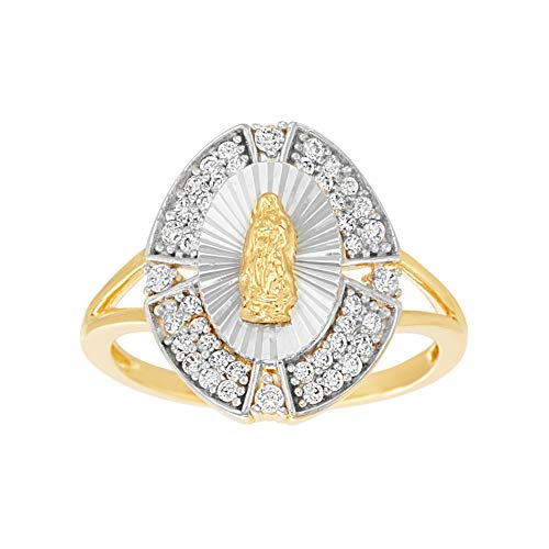 MY BIBLE Cubic Zirconia Religious Saint Oval Design Ring for Women in Yellow Gold and Rhodium Plated 925 Sterling Silver (Size ()