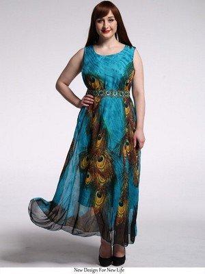 Maxi Beauty7 Beach Peacock Plus Summer Printed Women's Blue Dress Bohemian Boho Size 0wxBU0rq