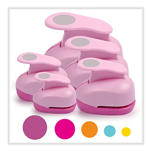 BearBoss 5 Pcs Craft Hole Punch, Handmade Scrapbook Paper Puncher, Different Size of Scrapbooking Punches Crafting Designs for Office Supplies, Card Making, DIY Albums Photos, Pink Color (Circle)