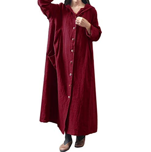 Dress Sleeve Jacket Size Dress TUDUZ Women Hooded Coat Button Clearance Loose Red Maxi Large Casual Long Linen Autumn Long Y1qZWWPT
