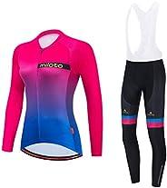 Uriah Women's Cycling Jersey and White Bib Pants Thermal Fleece Sets Long Sleeve Reflec