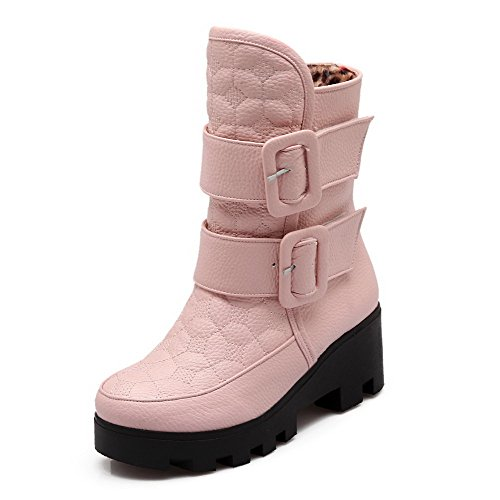 Closed Hook AmoonyFashion Round Women's Material Low Loop Toe Pink and Boots Heels Top Soft Kitten ppPBnq