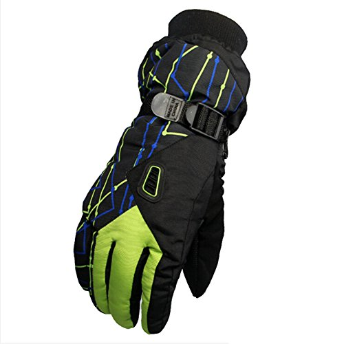 Men Waterproof Ski Snowboard Gloves Winter Warm Snow Gloves for Skating Motorcycle Rinding with Adjustable Cuffs (Green)