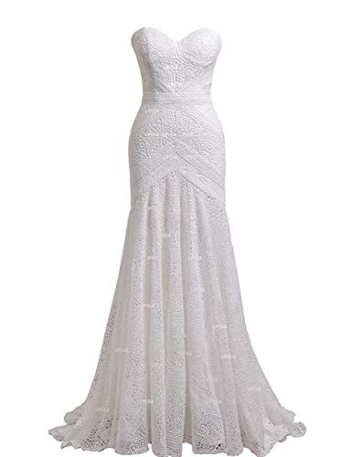 Women's Bohemian Wedding Dresses Sweetheart Mermaid Lace Bridal Gown (Ivory Lining-Zipper Up,US6)
