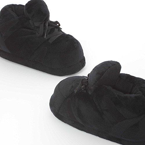 Sleeper'z Schwarze Hausschuh - Geschlossene Plüsch-Pantoffeln