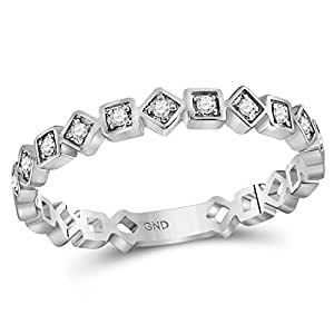 10kt White Gold Womens Round Diamond Squares Stackable Band Ring 1/10 Cttw