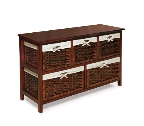 (Five Drawer Storage Organization Unit with Lined Wicker Baskets)