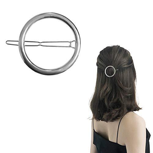 Joyci 1Pcs Creative Hoop Round Ponytail Holder Womens Geometric Metal Hair Pin (Silver)