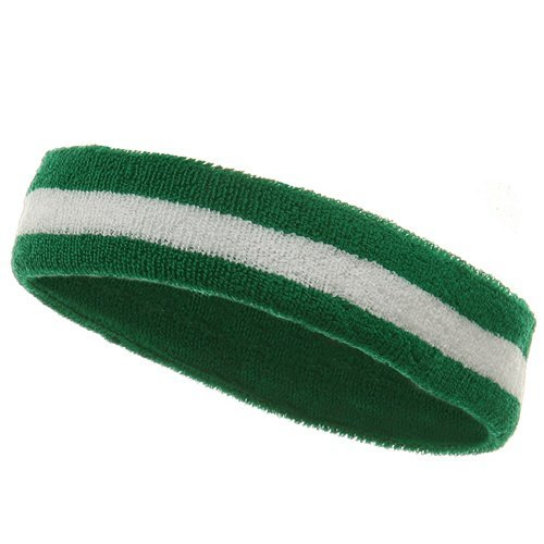 Striped Terry Headband - Striped Cotton Terry Cloth Moisture Wicking Head Band (Kelly Green/White)