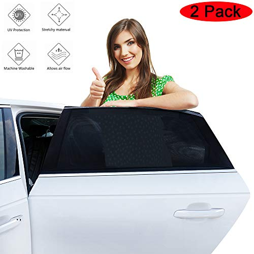 (Fullive Car Sun Shade - 2 Pack Car Window Sunshades,Rear Window Sun Shade,Universal Car Rear Side Window Sunshade for Baby Kids and Pets,Fit Most Small & Medium Cars)